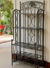 Patio Bakers Rack Metal Bakers Rack With Wine Storage Antique Brass Finish Ebay