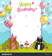 catdog happy birthday card background cat dog stock vector 184013606