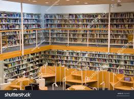 modern library interior books on bookshelves stock photo 7937065