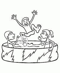summer swimming pool coloring page for kids seasons coloring