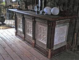 bar or store counter made from reclaimed architectural salvage
