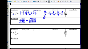 Mixed Fractions Worksheet Math Decomposing Mixed Numbers Youtube