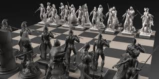 fantasy chess set frazetta acute s chess set by david molina fantasy 3d cgsociety