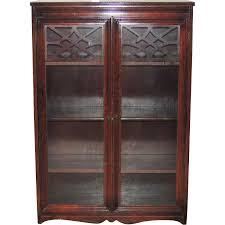furniture espresso untreated oak small bookcase with glass panel