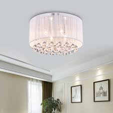 flush mount drum light 4 light white drum chrome flush mount crystal chandelier ceiling fixture