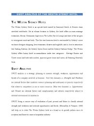 sample of swot analysis report swot analysis of the weston sydney hotel hotel swot analysis