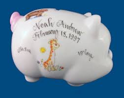 Keepsake Piggy Bank Personalized Handpainted Porcelain Piggy Bank With Boy Toy