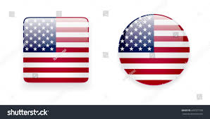 Us Flag Facts American Flag Icon Set Glossy Square Stock Illustration 443727700
