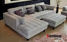 gray sectional with ottoman amazon com 3pc contemporary grey microfiber sectional sofa chaise