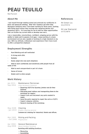 maintenance technician resume maintenance technician resume sles visualcv resume sles