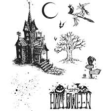halloween scene clipart frantic stamper newest products