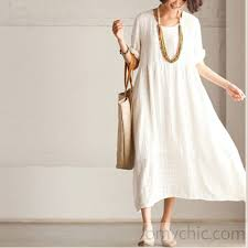 white casual linen sundress short sleeve maxi dress summer1 3 jpg