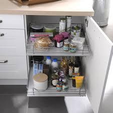 rangement coulissant meuble cuisine rangement coulissant 2 paniers pour meuble l 30 cm delinia tiroir