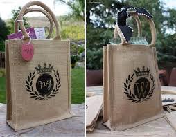 burlap gift bags stenciled burlap goodie bags frugelegance