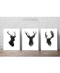 deer head set of 3 gray minimalist drawing black antlers deer head set of 3 gray minimalist drawing black antlers silhouette wall decor illustration ink abstract animal poster