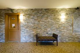 creative faux stone panels for wall interior decor combined with