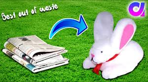 rabbit material how to make rabbit from waste newspaper best out of waste