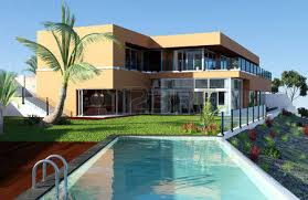 modern house with pool and beautiful view stock photo picture and