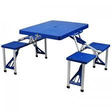 fold out picnic table at ascot portable picnic table set blue