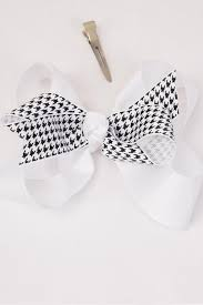 hair bow tie hair bow large houndtooth grosgrain bow tie white dz white
