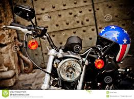 Harley Davidson Flags Rome Italy April 25 Motorcycle Harley Davidson With Helmet