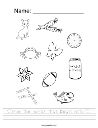 circle the words that begin with c worksheet twisty noodle