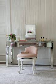 Pink Vanity Table Mirrored Vanity With Pink Stool Transitional Bedroom