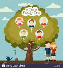 the family tree of illustration with avatars flat