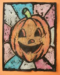 a faithful attempt oil pastel resist halloween art
