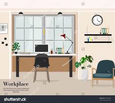 Designer Shelves Workplace Office Workplace Desk Shelves Electronics Stock Vector