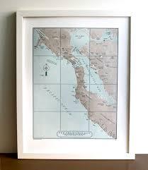 san francisco map framed san francisco bay area letterpress map print quail press