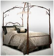 Four Poster Canopy Bed Frame Bedroom Classic Black Polished Rod Iron 4 Poster Canopy Bed