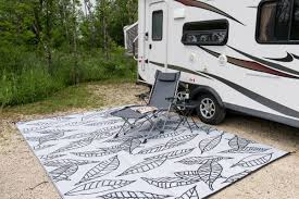 patio area rugs b b begonia arctic reversible rv camping patio mat black white