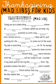 free thanksgiving mad libs kids fun family entertainment