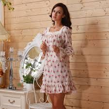 honeymoon nightgowns 2016 sleep lounge women sleepwear cotton floral print nightgowns