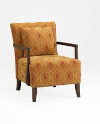 Wooden Accent Chair Orange Accent Chair With Brown Wooden Frame Flared Leg As