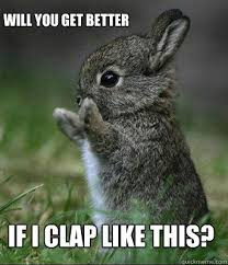 It Gets Better Meme - if i clap like this will you get better cute bunny quickmeme