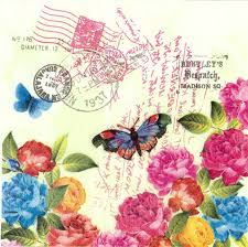 decoupage paper napkins of postmarks roses and butterfly u2013 chiarotino