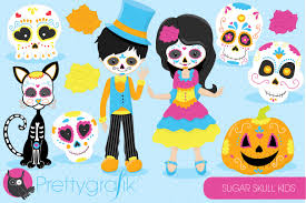 kids halloween clipart sugar skull kids clipart illustrations creative market