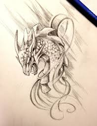 grey ink crying dragon head in swirls tattoo design tattooimages biz