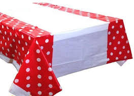 red white polka dot table covers red tablecloth with white polka dot design