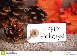 Happy Thanksgiving And Happy Holidays Autumn Label With Happy Holidays Stock Image Image Of