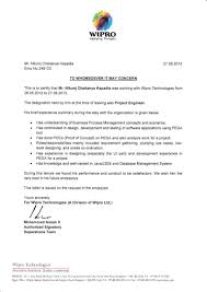 wipro experience letter