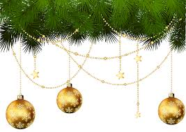 pine branches and christmas ornaments transparent png clip art
