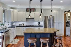 gray kitchen cabinets blue island best kitchens in classic blue try out the trendiest color