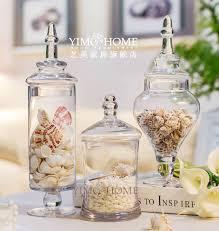 3pcs set large glass candy jar with glass lids buffet jar for
