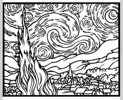 starry night printable coloring page corpedo com