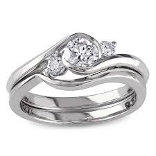 overstock wedding ring sets miadora signature collection 10k white gold 1 2ct tdw bezel