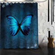 Blue Butterfly Curtains Shop Grey And Blue Shower Curtains On Wanelo