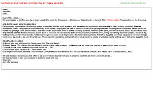 Sample Resume For Kitchen Helper by Kitchen Helper Offer Letter